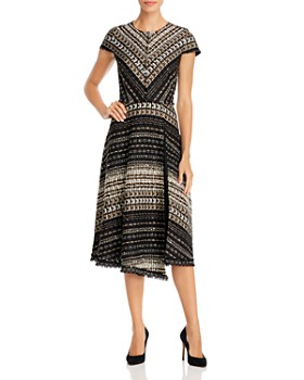PAULE KA - Noir Asymmetric Tweed Dress