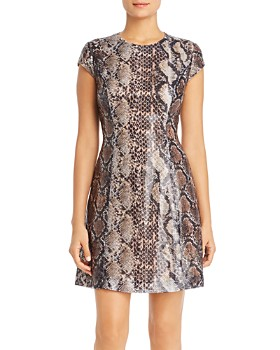 Elie Tahari - Elissa Sequined Snakeskin-Print Dress