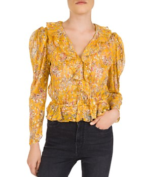 The Kooples - Feuille D'or Ruffled Floral Silk-Blend Top