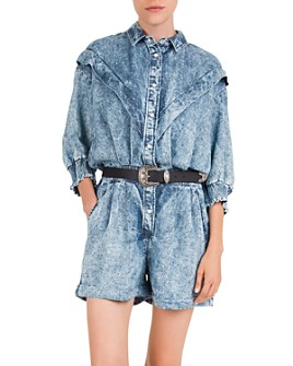 The Kooples - Pleated & Faded Button-Front Romper