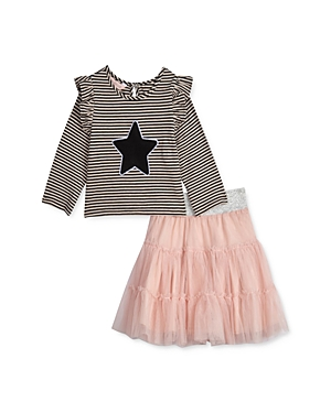 Pippa & Julie Girls\\\' Striped Star Top & Tiered Skirt Set - Baby-Kids