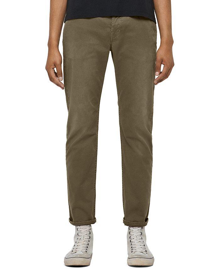 Allsaints Carter Straight Fit Twill Pants In Flint Grey In Beech Green