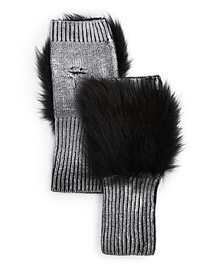 Jocelyn Gloves FOX FUR-TRIM METALLIC FINGERLESS GLOVES