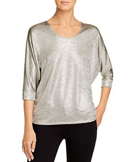 Kim & Cami - Metallic Dolman-Sleeve Top