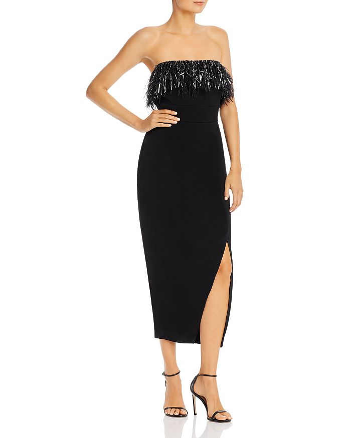 Saylor - Strapless Midi Dress with Faux Feather Trim