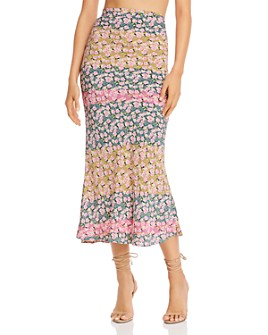 Flynn Skye - Alice Color-Blocked Floral Midi Skirt