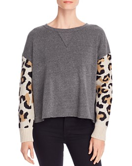 Vintage Havana - Fleece & Leopard Jacquard Sweatshirt