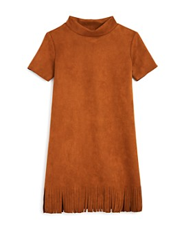 AQUA - Girls' Fringed Faux Suede Dress, Big Kid - 100% Exclusive