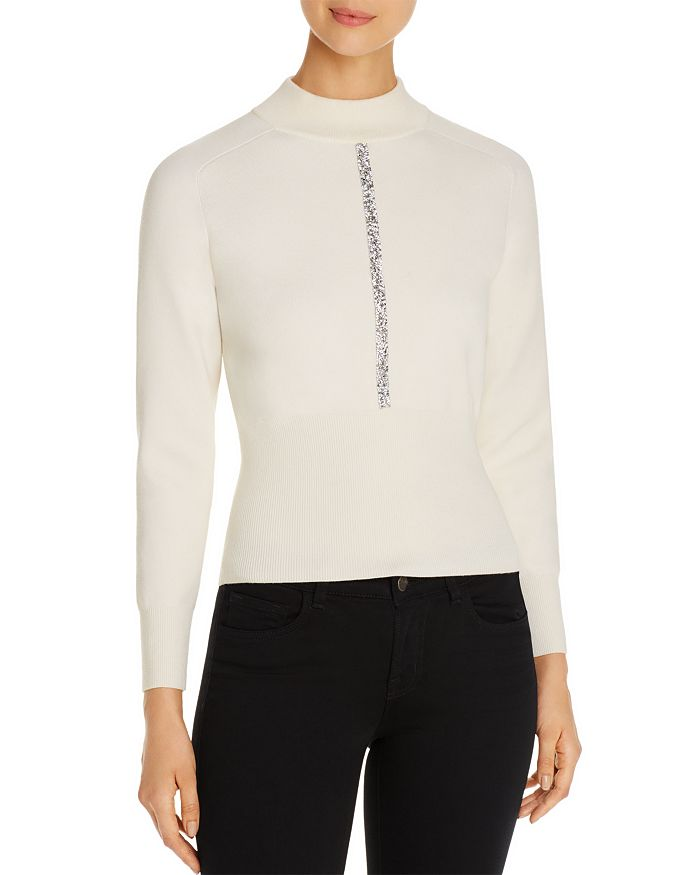 Elie Tahari Tatum Mock-Neck Wool Sweater With Metallic Trim In Antique