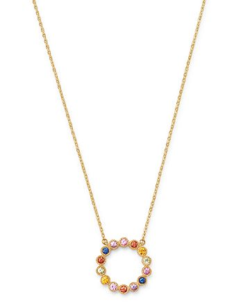 "Bloomingdale's - Rainbow Sapphire Circle Pendant Necklace in 14K Yellow Gold, 18"" - 100% Exclusive"
