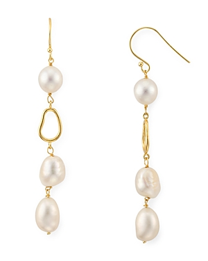 Argento Vivo Cultured Freshwater Pearl Linear Drop Earrings in 18K Gold-Plated Sterling Silver-Jewelry & Accessories