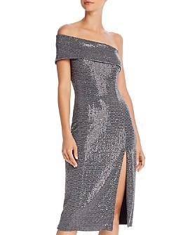 AQUA - Off-the-Shoulder Sequin Cocktail Dress - 100% Exclusive