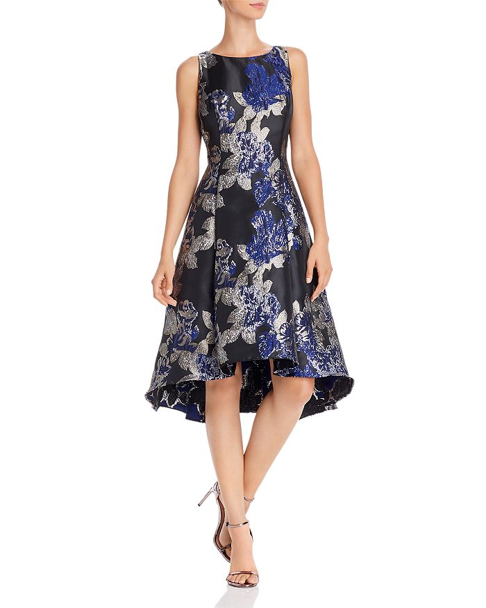 Adrianna Papell - Metallic Floral Fit-and-Flare Dress