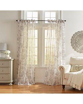 Elrene Home Fashions - Westport Floral Tie-Top Sheer Curtain Panel