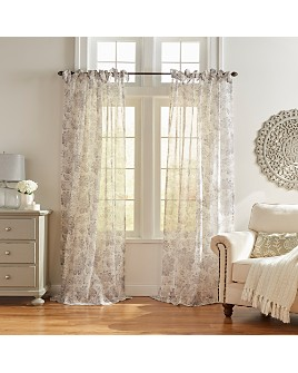 Elrene Home Fashions - Westport Floral Tie-Top Sheer Curtain Panel