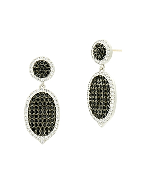 Freida Rothman Industrial Finish Pave Short Drop Earrings in Rhodium-Plated Sterling Silver