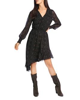 1.STATE - Printed Asymmetric-Hem Dress