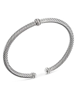 David Yurman - Sterling Silver Cable Classic Center Station Bracelet with Diamonds