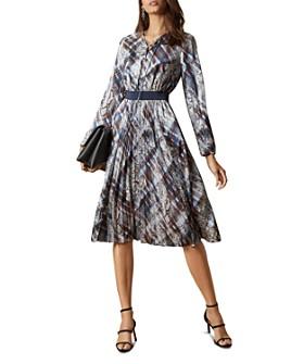 Ted Baker - Lilis Quartz and Plaid Print Midi Dress