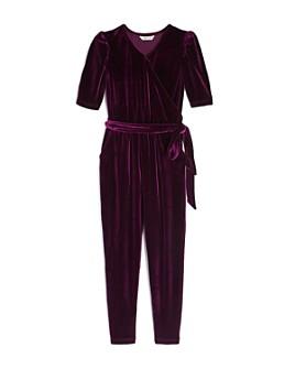 Habitual Kids - Girls' Briella Faux Wrap Velour Jumpsuit - Big Kid