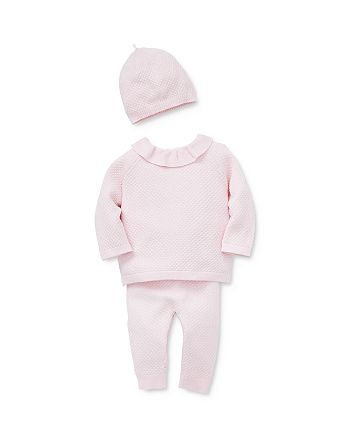 Little Me - Girls' Honeycomb Knit Sweater, Pants & Hat Set - Baby