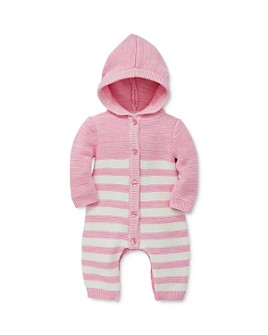 Little Me - Girls' Striped Hooded Knit Coverall - Baby