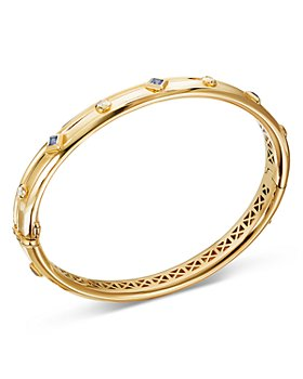 David Yurman - 18K Yellow Gold Modern Renaissance Bracelet with Diamonds & Blue Sapphires
