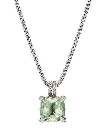David Yurman - Sterling Silver Châtelaine®  Pendant Necklace with Prasiolite & Diamonds, 18""