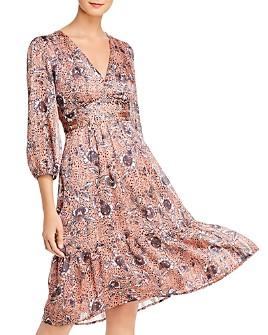 AQUA - Metallic Floral Paisley Midi Dress - 100% Exclusive
