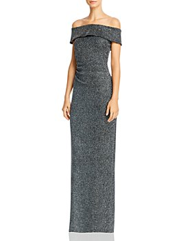 Avery G - Off-the-Shoulder Ruched Glitter Gown