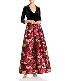 Eliza J - Velvet & Jacquard Ball Gown