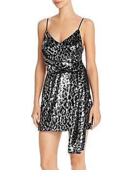 Saylor - Leopard Sequin Faux Wrap Mini Dress
