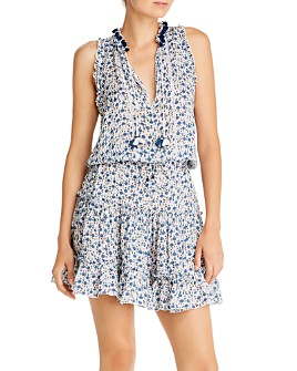 Poupette St. Barth - Clara Blue Bell Ruffled Mini Dress