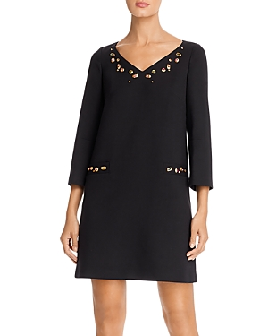 Paule Ka Simulated Gem-Embellished Tunic Dress