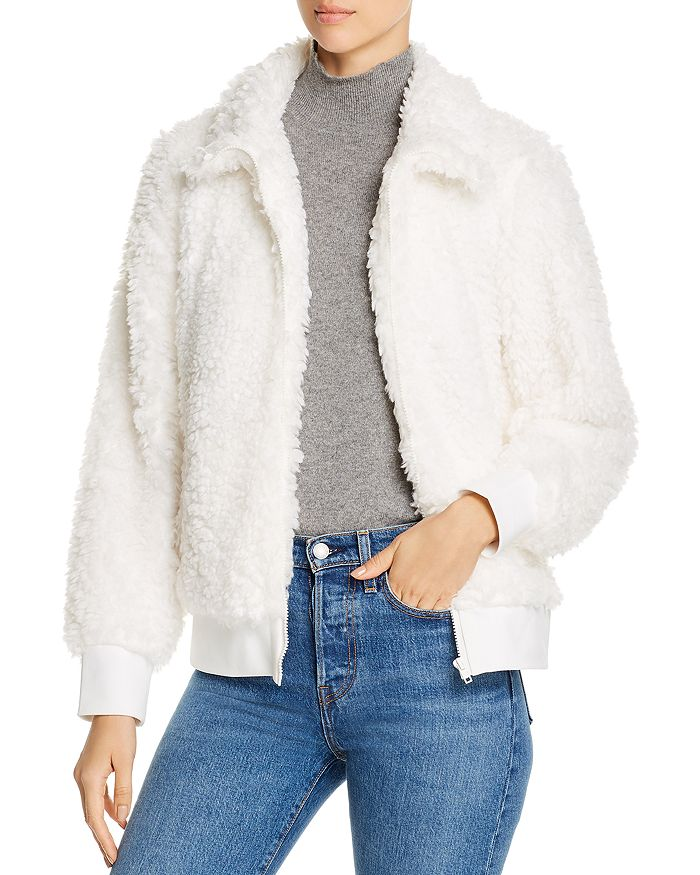 Alison Andrews Faux-fur Bomber Jacket In Marshmellow