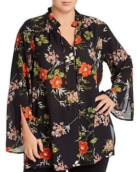 Single Thread Plus - Floral Crepe Tunic Blouse
