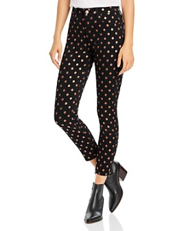 7 For All Mankind - Skinny Ankle Jeans in Metallic Polka Dot