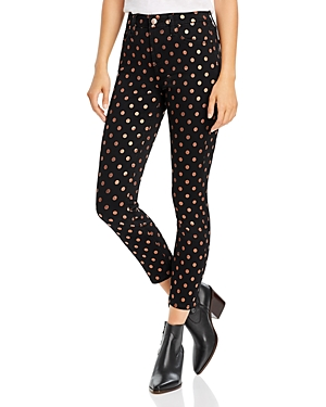 7 For All Mankind Jeans JEN7 BY 7 FOR ALL MANKIND SKINNY ANKLE JEANS IN METALLIC POLKA DOT