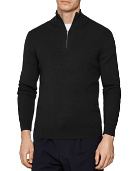 REISS - Campbell Ribbed Half-Zip Sweater