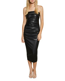 Bec & Bridge - Freddie Faux Leather Strapless Midi Dress