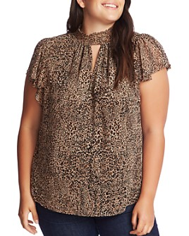 1.STATE Plus - Leopard Muse Flutter-Sleeve Top