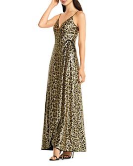 Aidan by Aidan Mattox - Sequin Leopard-Print Wrap Gown