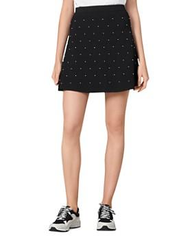 Sandro - Pearls Bead-Embellished Knit Mini Skirt
