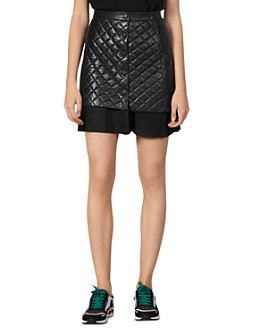 Sandro - Square Quilted Leather & Pleated Hem Mini Skirt