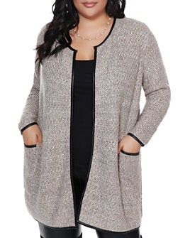 Belldini Plus - Faux-Leather Trimmed Cardigan