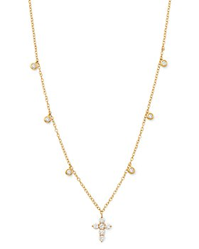 Bloomingdale's - Diamond Cross Pendnat Necklace in 14K Yellow Gold, 0.50 ct. t.w. - 100% Exclusive