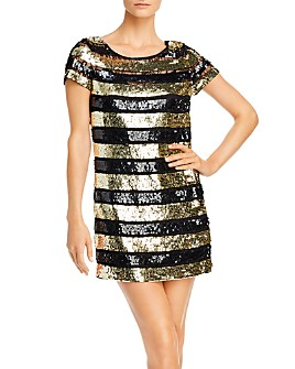 FRENCH CONNECTION - Anni Sequins Striped Mini Dress