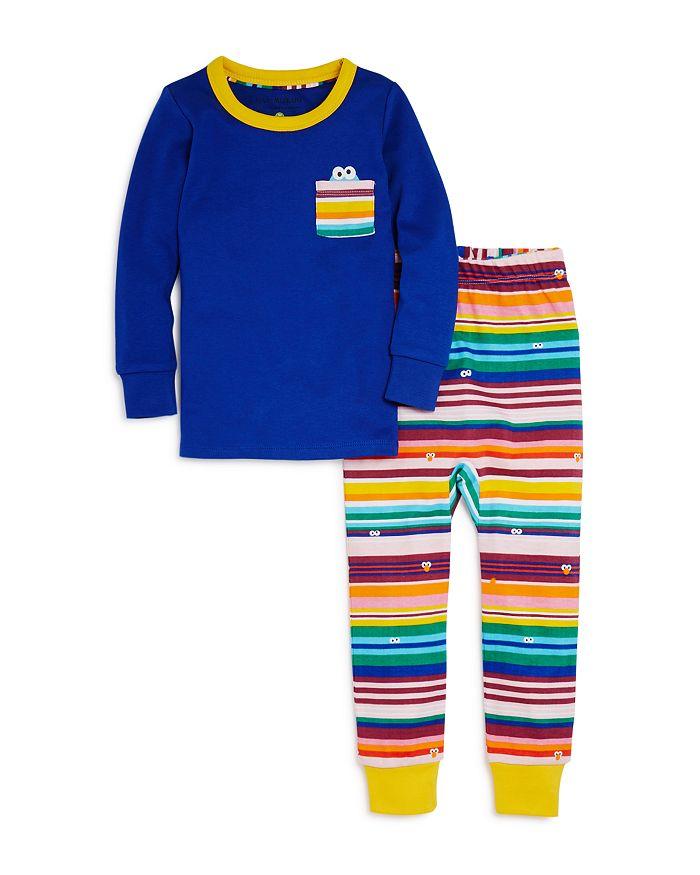 Isaac Mizrahi Loves Sesame Street - Unisex Cookie Monster Tee & Striped Pants Pajama Set, Baby, Little Kid - 100% Exclusive