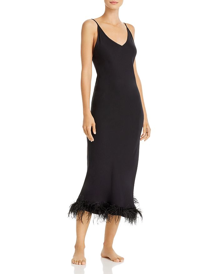 Sleeper - Feather-Trim Slip Dress - 100% Exclusive