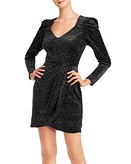 AQUA - Glitter Velvet Puff-Sleeve Dress - 100% Exclusive